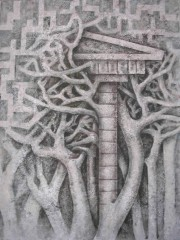 LA - Labirinti-Tous les chemins mènent à Rome II-tecn mixte sur toile-Villeneuve 2004.jpg
